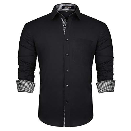 HISDERN Herren Hahnentritt Hemd formelle Freizeithemd Businesshemden Freizeithemden Langarm Klassisch Hemden Schwarz