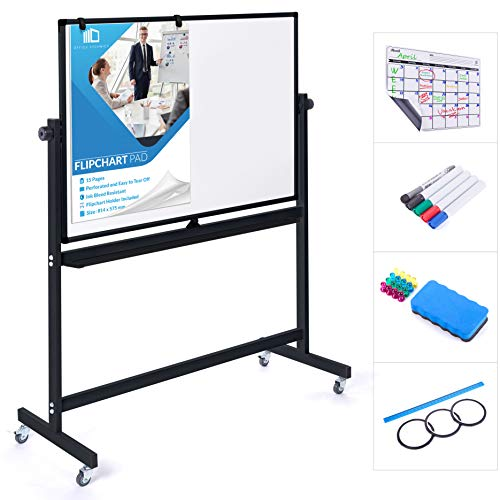 Mobile Whiteboard 48 x 36 Inch Double Sided Magnetic Dry Erase Board Large Rolling Stand Portable Easel Frame On Wheels Office Home Classroom 5 Markers, Calendar, Flip Chart, Eraser, 16 Magnet | Black