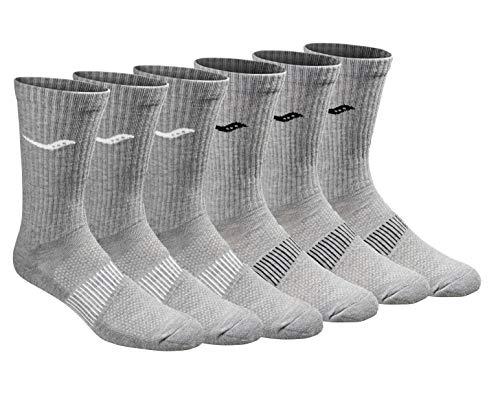 Saucony Men's Multi-Pack Mesh Ventilating Comfort Fit Performance Crew Socks, Grey (6 Pairs), Shoe Size: 8-12