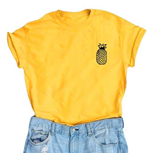 YITAN Women Cute Graphic T Shirts Teen Girls Funny Tops Yellow Small