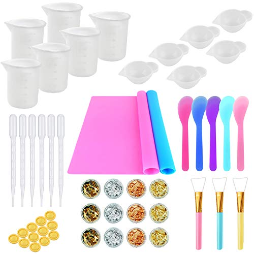 Resin Making Kit- Silicone Mixing Cups for Resin, silicone measuring cups, 2PCS Silicone Mat, Silicone Stir Stick, Glitter Sequins, Plastic Transfer Pipettes, Silicone Epoxy Brushes, Finger Cots