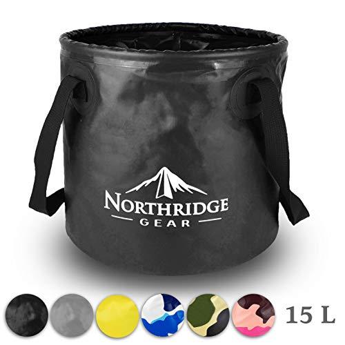 Falteimer Faltschüssel Spülschüssel | Camping Angeln Garten Party | Einsetzbar als Faltbare Wasch-Schüssel, Wasserkanister oder Faltbarer Eimer | Schwarz, 15L