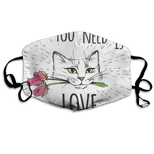 Leuke kat met bloemen en alles wat je nodig hebt is Liefdesmasker mondmasker halsmasker bandana bivakmuts