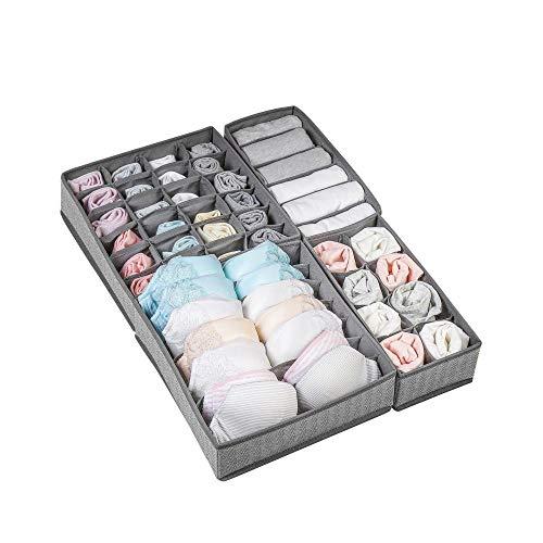 Cajón compartimento de almacenamiento artículos para el hogar plegable armario caja de almacenamiento de ropa interior caja de almacenamiento plegable sujetador calcetines corbata bufanda joyería-gris