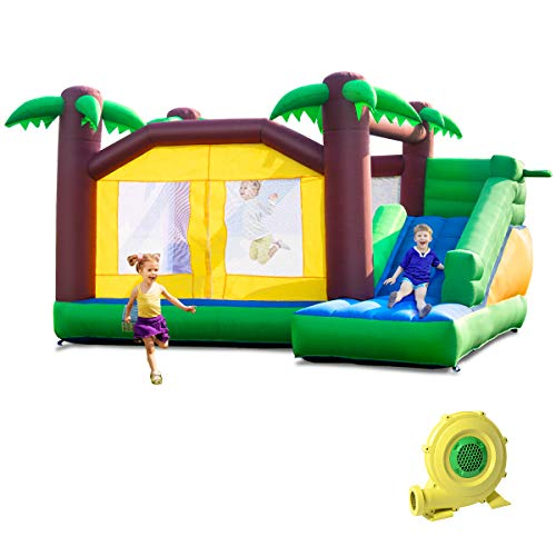 Costzon Inflatable Bounce House, Jungle Jump and Slide Bouncer w/Large Jumping Area, Long Slide, Basketball Hoop, Indoor Outdoor Use, Including Carry Bag, Repair Kit, Stakes (with 950W Air Blower)