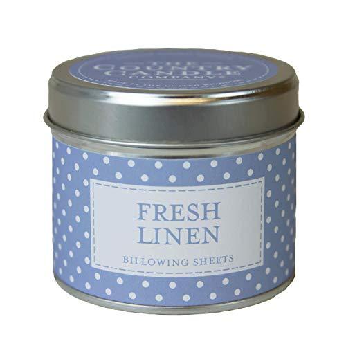 The Country Candle Company Polka-dot Tin Candle – Fresh Linen Scented, Up to 35 Hours Burn Time