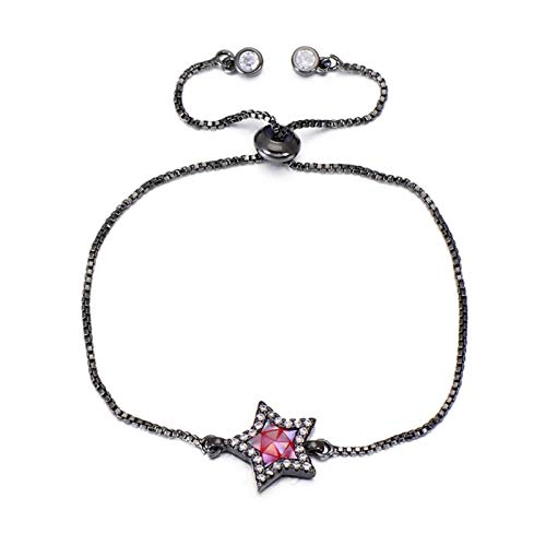 AMINIY Unique Colorful Natural Shell Zircon Star Bracelet Rose Gold Color Chain Charm Bracelet Jewelry Women Girls (Color : Black)