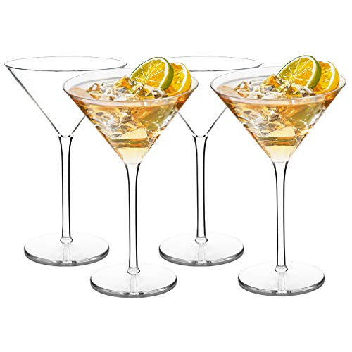 MICHLEY Unbreakable Cocktail Glasses 100% Tritan Plastic Martini Glasses 8.7oz, Dishwasher Safe, Ideal Gifts for Wedding Party, Set of 4