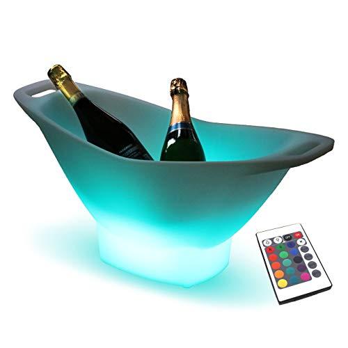 PK Green Erstklassiger LED Eiskübel   Eiskühler Eiswürfelbehälter Groß mit Farbwechsel, Fernbedienung   Eiseimer Flaschenkühler RGB Akku   Kühler Champagner Flaschen   Gartenlampe Wasserdicht Außen