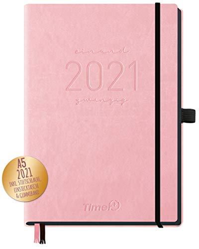 Chäff-Timer Deluxe Kalender 2021 A5 [Rosé] Terminplaner, Terminkalender, Wochenplaner mit Stiftschlaufe, Gummiband & Einstecktasche | nachhaltig & klimaneutral