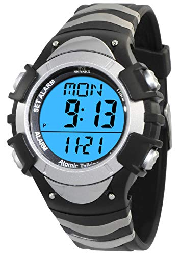 Atomic English Talking Watch for Seniors Men and Women Talking with Day-Date Loud Alarm Clock Visually Impaired by Five Senses (Silver/Black)