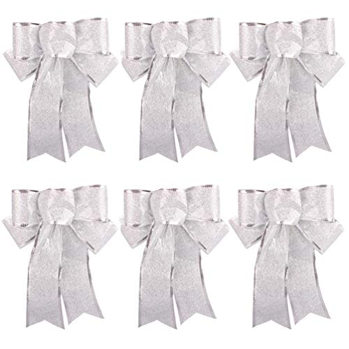 Beurio Silver Glitter Christmas Ribbon Bows Gifts Wreaths Wedding Party Decorations Hanging Ornaments, 6 pcs