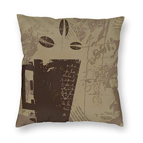 Pillow Covers Grunge Weathered Mug Silhouette with Aromatic Java Beans for Breakfast Decorative Throw Pillow Case Cushion Cover Home Décor Sofa Decorative Pillow 22 x 22 inch
