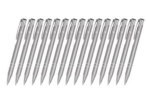 Creativgravur 15 Metall-Kugelschreiber-Set Magic, Blaue Großraummine, Farbe:C-04 (silber)