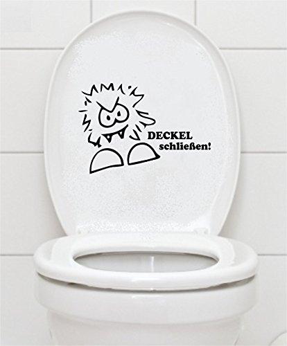 Mabi-IN-Design WC Aufkleber Deckel schließen 16x23cm Bad Klo Toilettendeckel Wandtattoo B412 (schwarz)