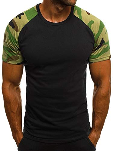 GAODAYU T-Shirt Patchwork T-Shirt Herren Harajuku Herren T-Shirt Lässige Baumwolle Kurzarm Top Slim Hip-Hop Sommer T-Shirt Herren, heimi, XXXL
