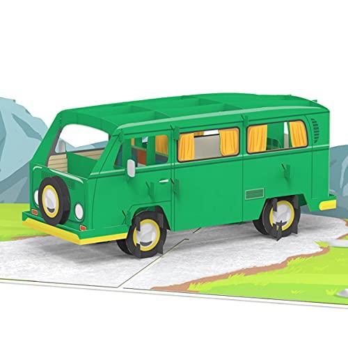 PaperCrush® Pop-Up Karte Minibus [NEU!] - Besondere 3D Geburtstagskarte für Männer und Frauen, Lustige Geschenkidee für Bulli Liebhaber - Handgemachte Glückwunschkarte inkl. Umschlag