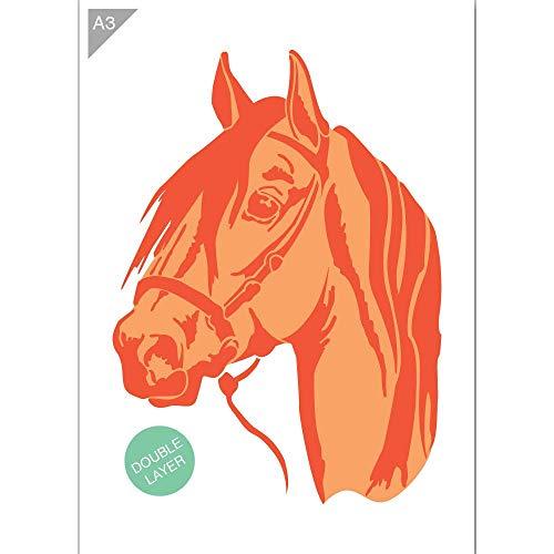 QBIX Pferd Schablone, Pferdekopf Schablone - 2 Schichten Schablone - A3 Größe - wiederverwendbare Kinder freundlich DIY Schablone zum Malen, Backen, Basteln, Wand, Möbel