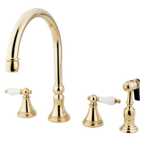 Kingston Brass KS2792PLBS 8' Deck Mount Kitchen Faucet with Brass Sprayer, Polished Brass, 8-1/4'...