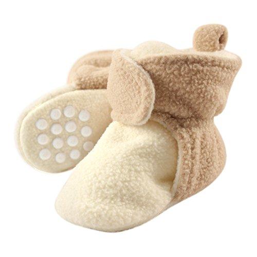Luvable Friends Unisex Baby Cozy Fleece Booties, Cream Tan, 18-24 Months