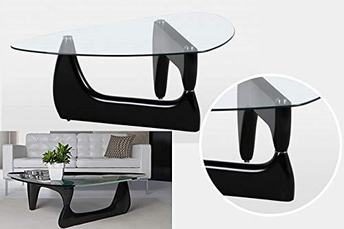 Tavolino da caffè in stile Noguchi con piano in vetro...