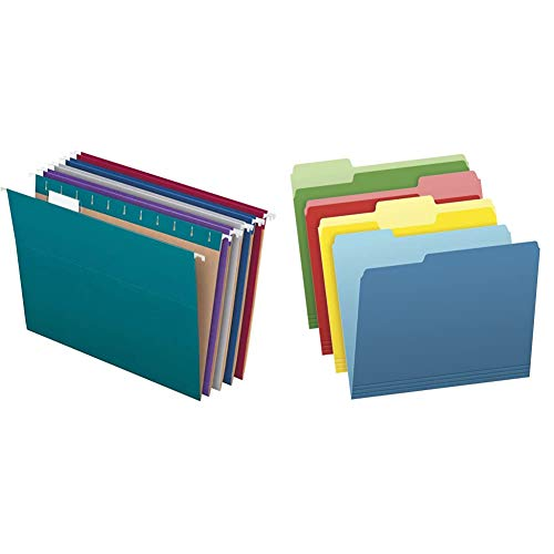 Pendaflex Recycled Hanging File Folders, 1/5-Cut Tabs, 25 Per Box & Two-Tone Color File Folders, Assorted Colors (Bright Green, Yellow, Red, Blue), 1/3-Cut Tabs, Assorted, 36 Pack (03086), 4-Color