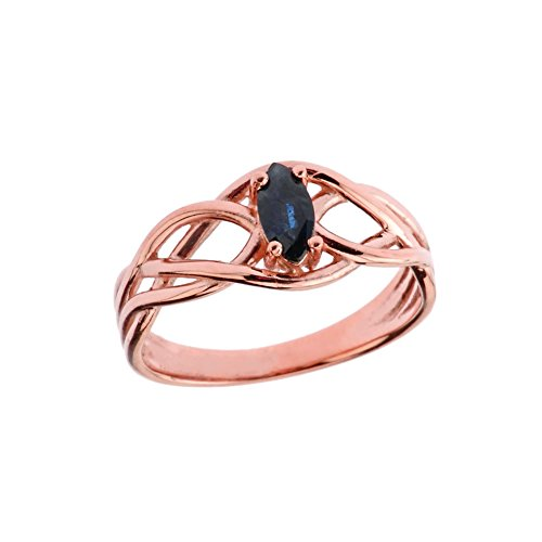 Exquisite 14k Rose Gold Sapphire Celtic Knot Engagement/Promise Ring (Size 5)