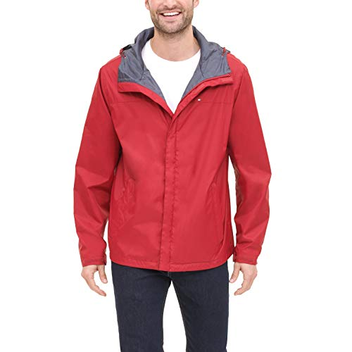 Mens Waterproof Breathable Red Rain Hooded Jacket