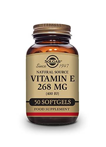 Solgar Vitamina E 268 mg (400 UI), D-Alfa Tocoferol y mezcla de Tocoferoles, 50 Cápsulas blandas vegetales