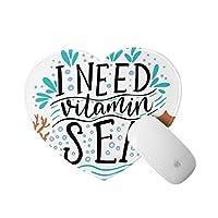 WOTAKA ハート型 マウスパッド,サンゴの波のヒトデの泡で描かれたビタミン海の心に強く訴える引用手が必要,個性的 おしゃれ 柔軟 かわいい ゲーミングマウスパッド PC ノートパソコン オフィス用 円形 デスクマット 滑り止め 小型 マウスマット