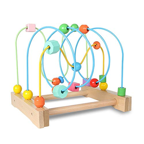 Actividad Tesoro Cubo de Bolas Laberinto Madera Abacus Educación Perlas Círculo Juguetes, Colorido de la montaña Rusa Juego de Regalos for los niños Niños Niños Niños Niñas Forma del Grano Laberinto