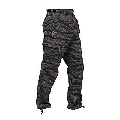 Rothco Camo Tactical BDU (Battle Dress Uniform) Military Cargo Pants, Tiger Stripe Camo, L