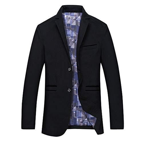 GWELL Herren Blazer Freizeit Sakko Casual Anzugjacke Business Regular Fit Schwarz, EU L (Herstellergröße: 3XL)