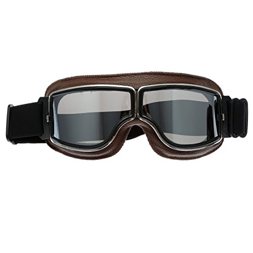 Motorrad Brillen Schutzbrillen Retro Helm Aviator Pilot für Motocross Harley - Silber Glas