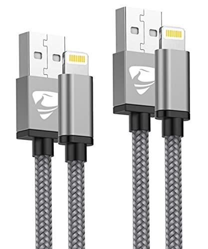 Aioneus Cable iPhone, Cable Cargador iPhone [2pack 1M 2M] Cable Lightning MFI Rápida Trenzado de Nylon Cargador iPhone Compatible con iPhone 11 Pro 12 Pro SE Max XR XS X 10 8 7 6 6S Plus 5 202