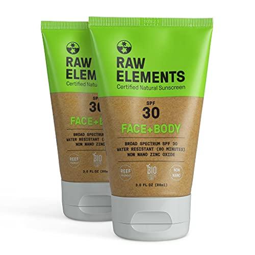 Raw Elements Organic SPF 30 Zinc Sunscreen, 3oz (2-Pack)