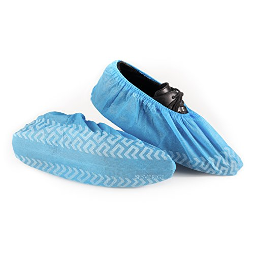 SF Sverige Premium Disposable Boot & Shoe Covers | Non-Skid 100-pack (50 Pairs) | One Size Fits All Up to L, Blue | Guaranteed Protection For Shoes & Floors