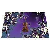 Tcerlcir Set di 6 Tovagliette Elegante Violino Musica Frattale Lavabile Antiscivolo Resistente al Calore per la Cucina e la tavola 45x30cm