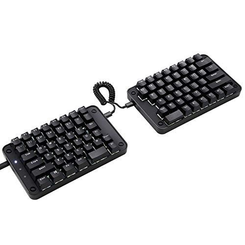 Koolertron Programmable Split Mechanical Keyboard, All 89 Keys Programmable Ergonomic Keypad with OEM Gateron Black Switch, 8 Macro Keys - [SMKD62] Black (OEM Switch White Backlit)