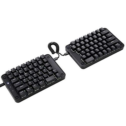 Koolertron Programmable Split Mechanical Keyboard, All 89 Keys Programmable Ergonomic Keypad with OEM Gateron Black Switch, 8 Macro Keys - [SMKD62] Black (OEM Switch White Backlit)