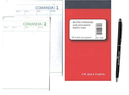 GICA - 50 blocchi comande 25x2 per ristorante, bar, pub, pizzerie, in carta chimica auto ricalcanti (50 pz - 2 copie)