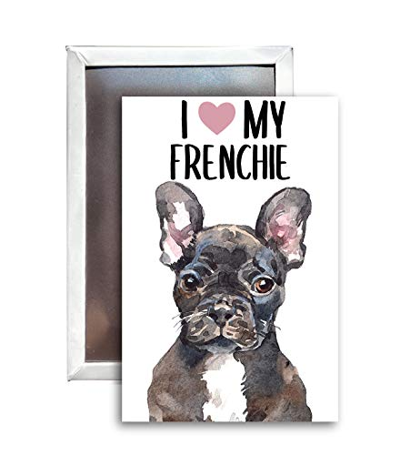 I Love My Frenchie French Bulldog Dog Breed Watercolor 2x3 Inch Fridge Magnet Single