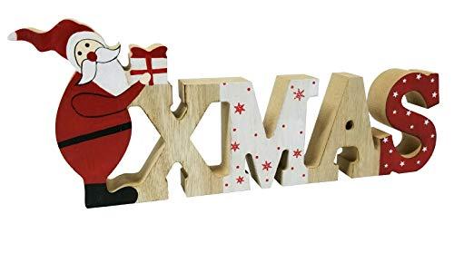 khevga Weihnachtsdeko Schriftzug Xmas Weihnachtsmann Tisch-Deko Weihnachten Holz