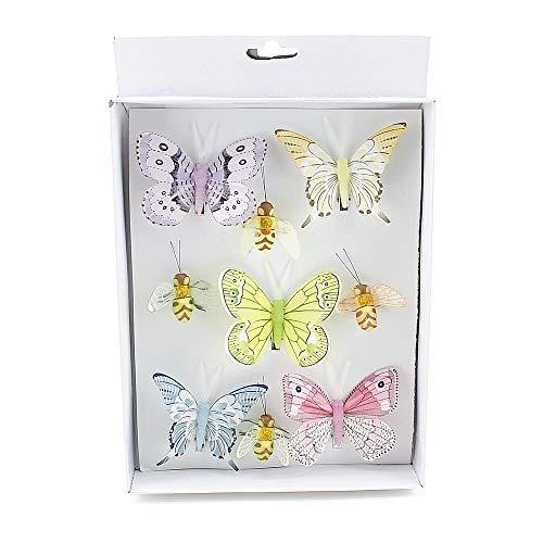 TGG 9 Stück Biene - Schmetterlinge Mix mit Clip, Sortiment bunt, Feder !!!
