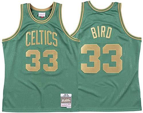 BXWA-Sports Jersey de Baloncesto para Hombres, Boston Celtics NBA # 33 Larry Bird Basketball Ropa cómoda/Malla/Fresco Barbébol Baloncesto Retro sin Mangas Jerseys,XL