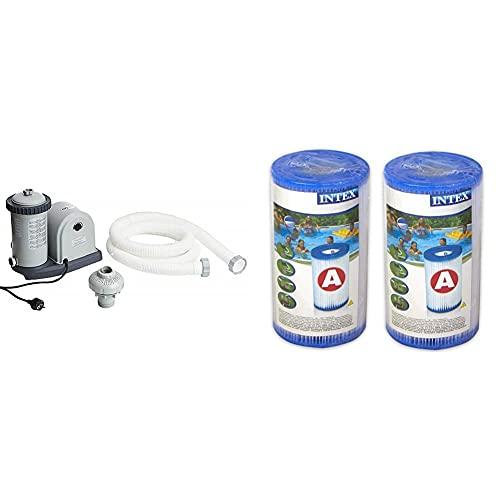 Intex 28636 Depuradora De Cartucho Filtros Tipo A, 5678 L/H + 29002 Cartucho Para Filtros Para Piscinas, 2 Unidades
