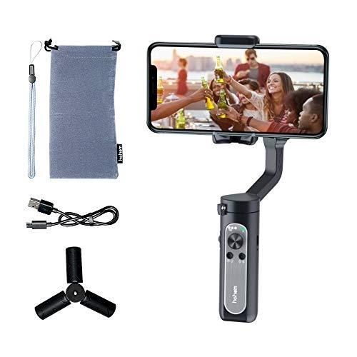 hohem - Estabilizador de 3 ejes para smartphone iPhone 11 Pro mAX/Xs Android, Foldbale Gimbal para grabación de vídeo en vivo Vlog Youtuber, seguimiento facial, inicio automático, iSteady X (negro)