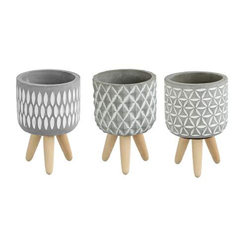 Ideas4Seasons 3 x Pflanztopf auf Holzbeinen mit Muster Zement grau 15x10 cm Dekoration Terrasse Garten mit Füßen