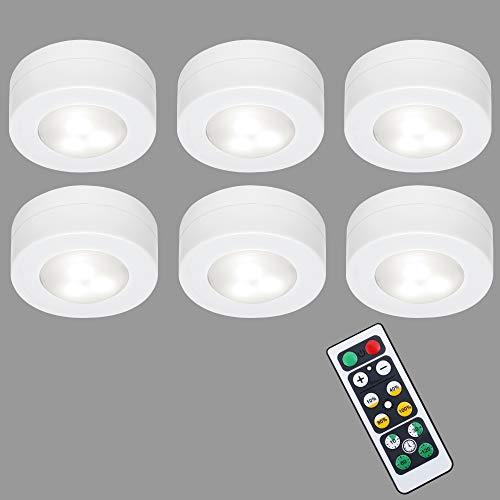 Briloner Leuchten Set de 6 bombillas LED para armario con control remoto, regulables, funcional, luz de noche para dormitorios con temporizador y con cinta adhesiva 3M, en blanco, 0.8 W, 58x26mm (DxH)
