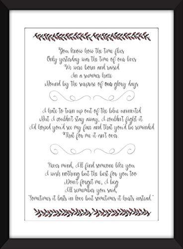Adele Someone Like You Lyrics Unframed Print Amazon Es Handmade